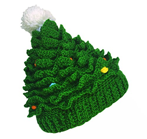 - Kafeimali Unisex Christmas Winter Knitted Crochet Beanie Santa Hat with Beard Foldaway Bearded Caps (Green)