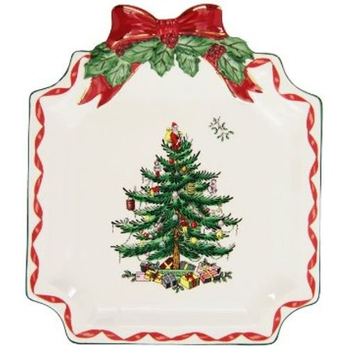 Spode Christmas Tree Ribbons Canape Plate, Gold
