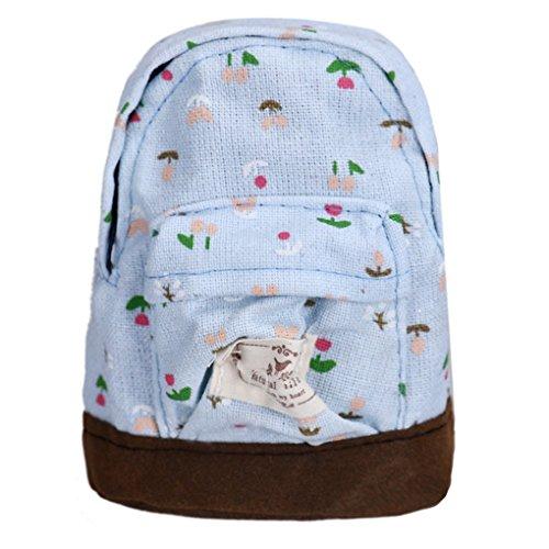 Fulltime(TM) Canvas Mini Floral Backpack Women Girls Kids Cheap Coin Pouch Sky Blue