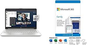 HP 15-Inch FHD Laptop, Natural Silver Plus Microsoft 365 Personal 12 Month, Auto-Renewing Subscription