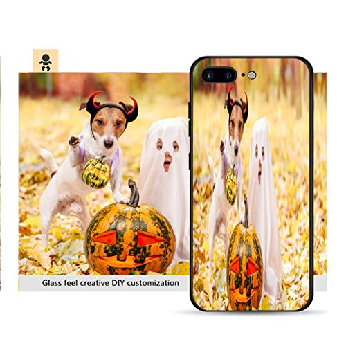 iPhone 7p / 8p Ultra-Thin Phone case Kid and Dog Dressed in Halloween Costumes with Jack o Lantern Pumpkins Resistance to Falling, Non-Slip, Soft, Convenient Protective case