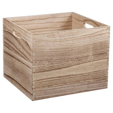 Circo Large Wood Milk Crate - Natural