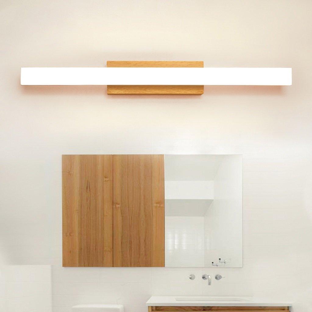 Solid Wood, Mirror Light, LED Wall Washer, Mirror Light Cabinet Light, Bathroom Simple Dresser Wall Light, Warm Light (Size : 60CM 10W) by Mingteng (Image #5)