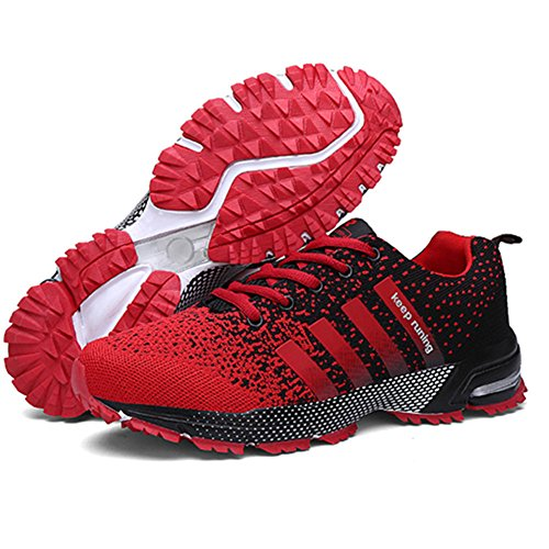 KUBUA Womens Running Shoes Trail Fashion Sneakers Tennis Sports Casual Walking Athletic Fitness Indoor and Outdoor Shoes for Women F Red Women 5.5 US/Men 4.5 M US by KUBUA (Image #3)