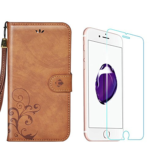 iPhone 7 Case  Tempered Glass Screen Protector, Faetin Handmade Retro Leather Wallet Case Slim Stand Folio Flip Carry Case with Screen Film (iPhone 7…