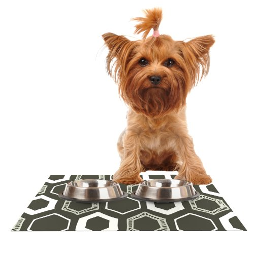 KESS InHouse Laurie Baars Hexy Brown Geometric Feeding Mat for Pet Bowl, 18 by 13-Inch