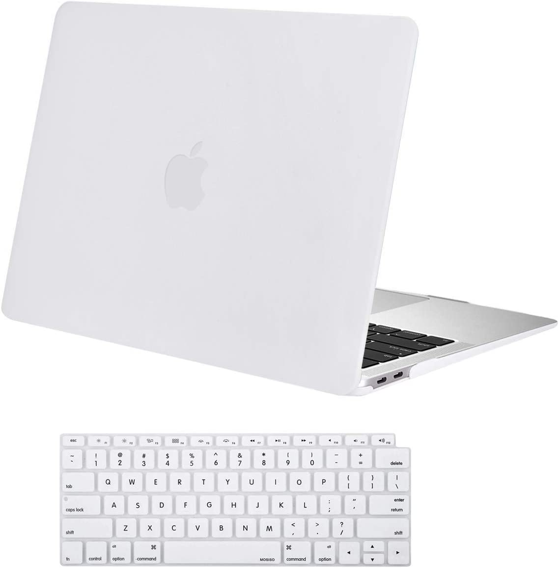 MOSISO MacBook Air 13 inch Case 2020 2019 2018 Release A2179 A1932 with Retina Display, Plastic Hard Shell Case & Keyboard Cover Only Compatible with MacBook Air 13 with Touch ID, White