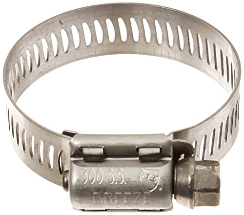 Breeze 63020H Marine Grade Power-Seal Stainless Steel Hose Clamp, Worm-Drive, SAE Size, 13/16