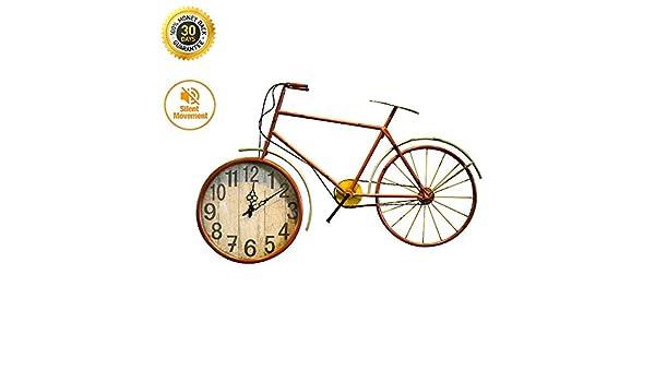 HSJLH Forjado Muro de Hierro Reloj de Pared Retro Bicicleta Rueda Relojes para el Restaurante Tienda de Ropa de decoración Ropa de niños Colgando: Amazon.es: Hogar