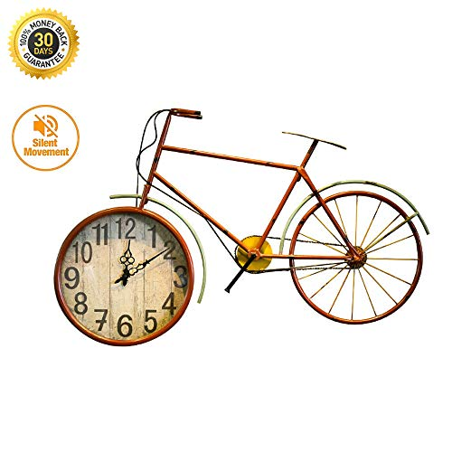 HSJLH Wrought Iron Wall Clock Retro Bicycle Wheel Wall Hanging Clocks for Interior Decoration Clothing Children's Clothing Store Restaurant (Art Wrought Iron Wall Bicycle)