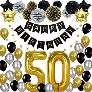 50th Happy Birthday Party Supplies Kit, (47pcs) - Silver, Black and Gold – 50th Birthday Decorations (Helium Balloons, Banner & Paper Flowers) - for Men, Women, Boys & Girls