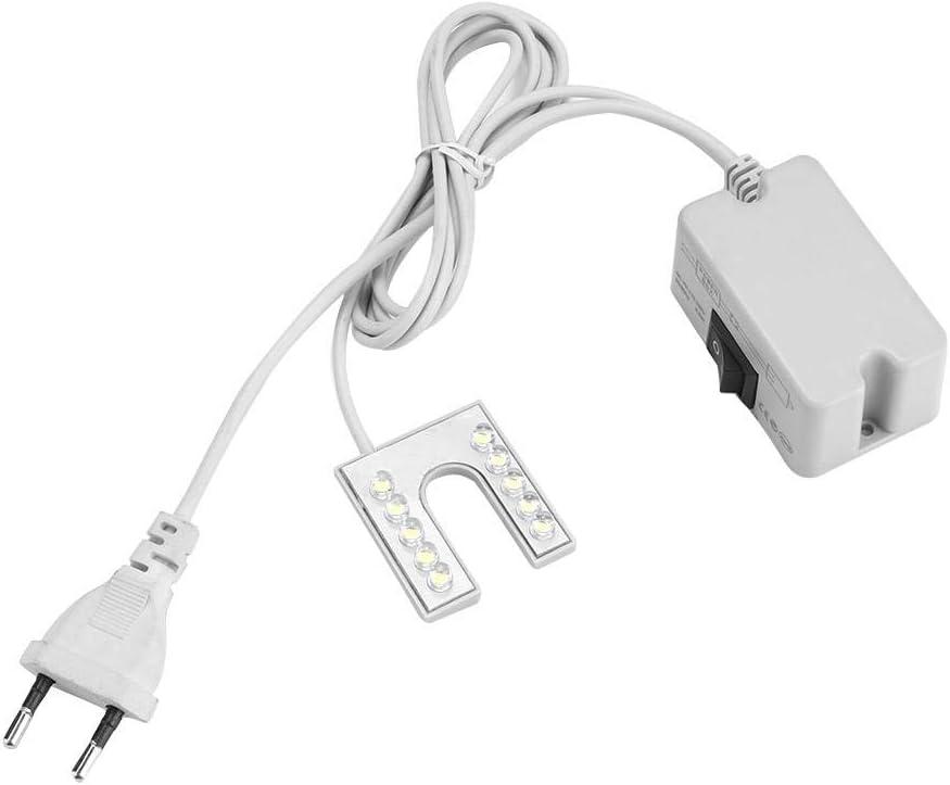 DEWIN Lámpara de luz LED de Cuello de Cisne Flexible con Base magnética para máquina de Coser, Enchufe Europeo de 110-265 V