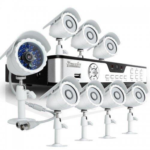 UPC 846655007250, Zmodo KDB8-BARBZ8ZN-500GB 8CH H.264 DVR with 500GB HDD & 8 CMOS 480TVL 65ft IR Outdoor Security Cameras