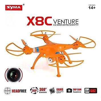 MODELTRONIC Dron Grande SYMA X8C Venture Naranja con cámara 2MP HD ...