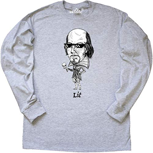 inktastic - Lit Shakespeare Bobble Long Sleeve T-Shirt X-Large Ash Grey