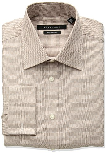 Sean John Tailored Dress Shirt (Sean John Men's Tailored Fit Check Spread Collar Dress Shirt, Cork, 18.5