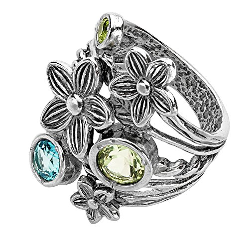 Paz Creations ♥925 Sterling Silver and Gemstone Floral Ring (6), Made in Israel by PZ (Image #2)