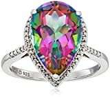 Sterling Silver Mystic Fire Topaz and Diamond Accent Pear Shape Ring, Size 7