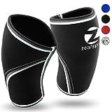 Knee Sleeves(1 Pair)Compression & Support for Weightlifting, WOD, Squats, Gym, Powerlifting & Crossfit-7mm Neoprene Knee Brace-Both Women & Men,Black-Black,L