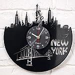 New York Vinyl Clock Wall Art Decor for Room Statue of Liberty Modern Art Gift for Men Women Birthday Record Clock New York City Home Decor Design New York GIF Idea - New York Wall Decor Black 6