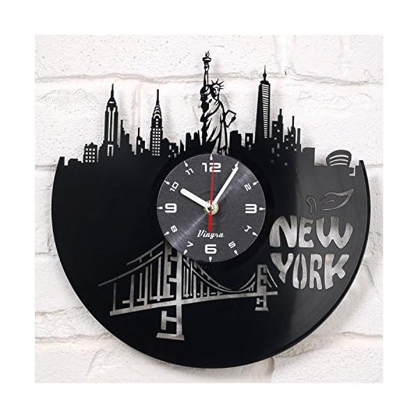 New York Vinyl Clock Wall Art Decor for Room Statue of Liberty Modern Art Gift for Men Women Birthday Record Clock New York City Home Decor Design New York GIF Idea - New York Wall Decor Black 3
