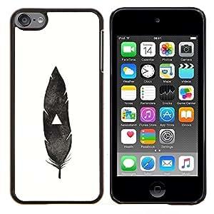 TECHCASE---Cubierta de la caja de protección para la piel dura ** Apple iPod Touch 6 6th Touch6 ** --pluma india nativa blanco negro profundo