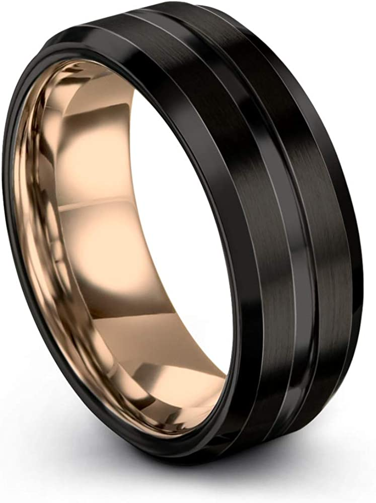 Midnight Rose Collection Tungsten Wedding Band Ring 8mm for Men Women 18k Rose Yellow Gold Plated Bevel Edge Black Brushed Polished
