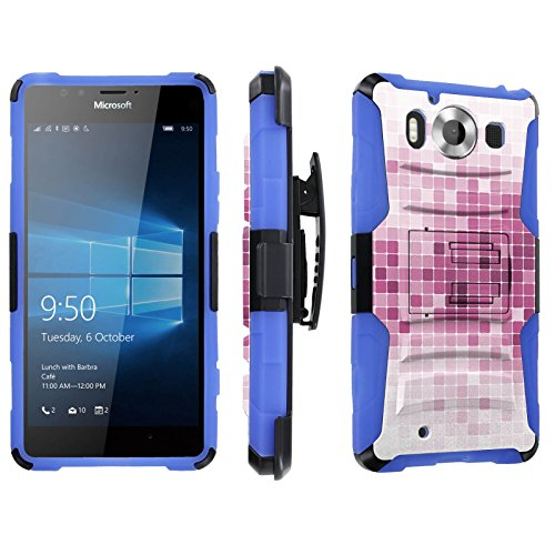 Photo - [SkinGuardz] Case for Microsoft Lumia 950 [Heavy Duty Ultra Armor Tough Case with Holster] - [Mosaic-White Pink]