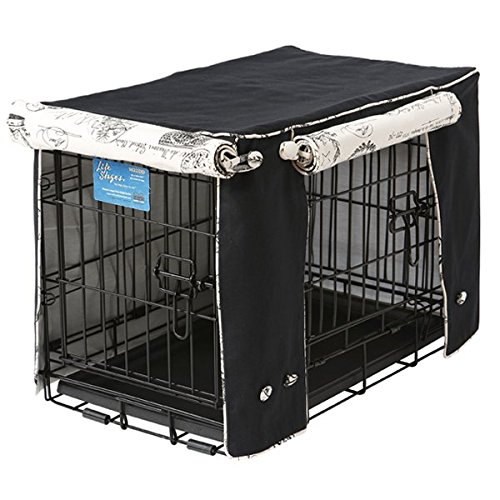 Crate Covers and More Double Door 30 Pet Crate Cover, Black Twill with Parisian Black by Crate Covers and More