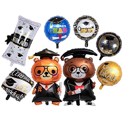 8PCS Graduation Party Decorations with Key to Success Grad Balloon Dr. Bear Balloon 18inch Round Graduation Balloon Perfect for Graduation Party Supplies]()