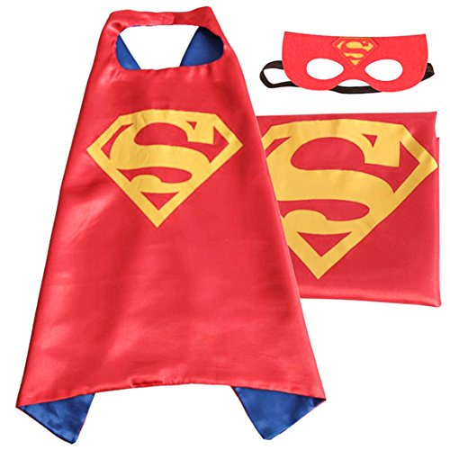 (Superman (red)) ROXX Superhero Kids Girl Boy Cape and Mask Costume for Child (Superman Costume For Child)
