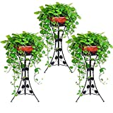 UNHO 3PCS Classic Plant Stand Decorative Metal Garden Patio Standing Plant Flower Pot Rack Display with Modern Three-Dimension Leave Design Black