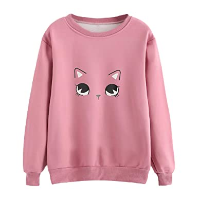 Yanvan ❤ Womens Tops Blouse Long Sleeve O-Neck Cat Print T-Shirt