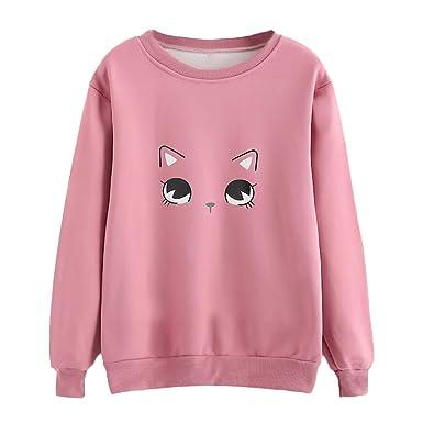 Women Casual Long Sleeve Cat Print T-Shirt Round Neckline Sweatshirt Short  Sleeve Shirts for 25fe7d4a129