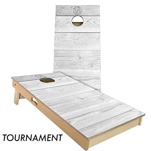 Slick Woody's 4'x2' Regulation Size Rustic White Wood Cornhole Boards Set