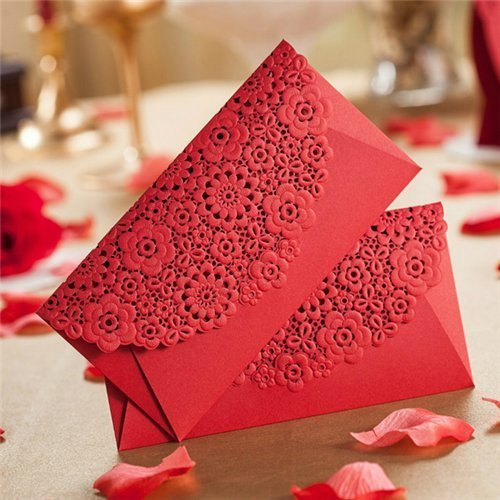 Red Pocket Invitation - AUCH 8Pcs Deluxe Hollow Out Chinese Red Envelopes/Money Pocket/Party Accessory Organizer Envolop for Bussiness Occassion/Invited Card/Wedding/Birthday/New Year Party