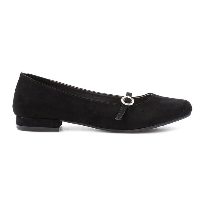 Lilley Womens Black Faux Suede Bar Ballerina Shoe - Size 9 UK - Black:  Amazon.co.uk: Shoes & Bags