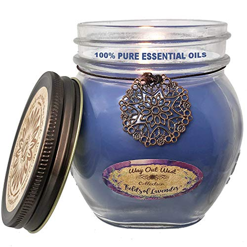 (Way Out  West Aromatherapy Scented Candles -Stress Relief & Relaxation, 60 Hour Long Burning Natural Candle - USA Made - 100% Real Lavender Essential Oils - Soy Wax Blend Fragrant Jar Candles )