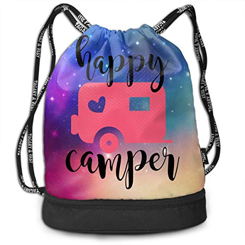 Zhangyi Camping Happy Camping Camper Drawstring Backpack Sports Gym Cinch Sack Bag for Women Men Girls Shoulder Bags -