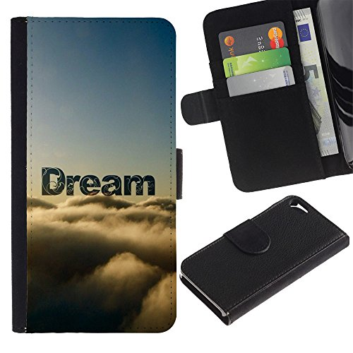 MobileMart / Apple Iphone 5 / 5S / dream clouds awe nature sky god hope / Cuir PU Portefeuille Coverture Shell Armure Coque Coq Cas Etui Housse Case Cover Wallet Credit Card