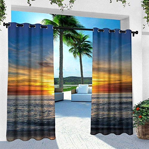 Hengshu Ocean, Outdoor Curtain Waterproof Rustproof Grommet Drape,Sunset Over Pacific Ocean from La Jolla California Sunlight Colored Sky Photo Print, W84 x L108 Inch, Orange Blue ()