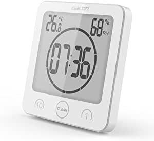 BALDR LCD Waterproof Bathroom Shower Clock, White…