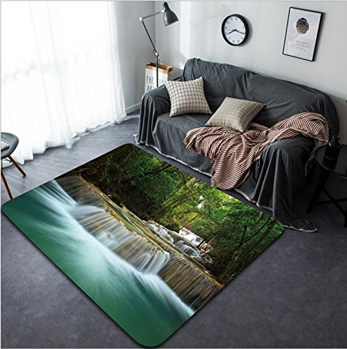 Vanfan Design Home Decorative 107873450 waterfall in thai national park In the deep forest on mountain Modern Non-Slip Doormats Carpet for Living Dining Room Bedroom Hallway Office Easy Clean Footcl by vanfan