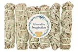 Alternative Imagination 6 Pack - Premium California White Sage Smudge Sticks, Each Stick Approximately 4 Inches Long Brand. Made in USA.