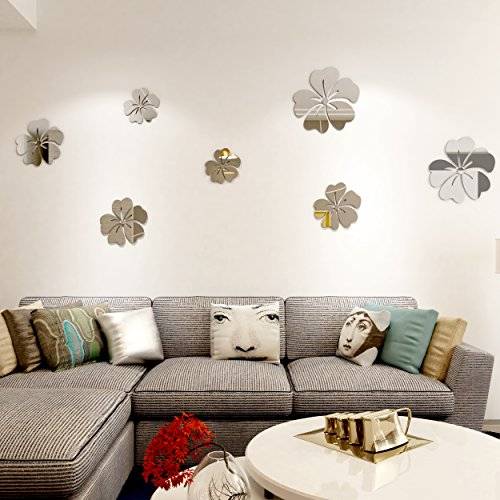 - Encoft 3D Floral Wall Stickers Acrylic Hibiscus Flower and Butterfly Silver Mirror Living Room Wall Decals (Middle)