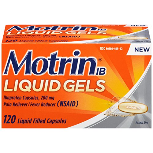 Motrin IB Liquid Gels, Ibuprofen, Relief from Minor Aches and Pains, 120 Count