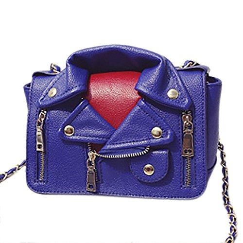 Leather Jacket Satchel Rivet Blue Dark Women's Motorcycle Handbag Crossbody QZUnique PU Shouldbag Bag xBTSXHq