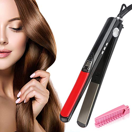 Professional Infrared Hair Straighteners THZY Digital Anti Static Ceramic Flat Iron 1 Inch Temperature Control Negative Ion Automatic Protection Travel Case