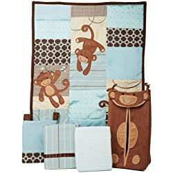 Lambs & Ivy Giggles Monkey 5 Piece Crib Bedding Set for boys