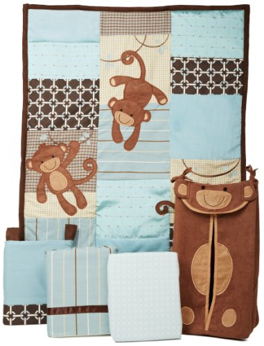 Lambs & Ivy Giggles 5 Piece Crib Bedding Set (Monkey Diaper Stacker)